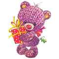 New Year Funny Toy  Bear With Winter Decoration. Watercolor Royalty Free Stock Image - 57967046