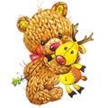 New Year Funny Toy  Bear With Winter Decoration. Watercolor Stock Photography - 57967112