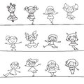 Happy Girls Hand Drawing Cartoon Character Stock Image - 57970931