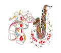 Happy New Year 2016 Musical With Jazz Saxophone Doodle Art Royalty Free Stock Photos - 57972528