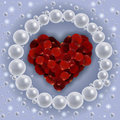 Heart Of Red Rose Petals With Pearl Frame Royalty Free Stock Photography - 57976927
