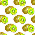 Seamless Patern With Kiwi, Fruit Pattern, Triangles Royalty Free Stock Photos - 58026818
