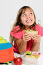 Healthy Packed Lunch Box For Elementary School Girl Royalty Free Stock Image - 58035026