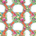 Seamless Pattern With Spring Flowers On Grunge Striped Colorful Background Royalty Free Stock Image - 58045716