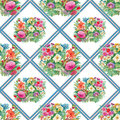 Seamless Pattern With Spring Flowers On Grunge Striped Colorful Background Royalty Free Stock Photos - 58045748