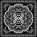 Black Bandana Print, Silk Neck Scarf Or Kerchief Stock Images - 58051264