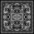 Black Bandana Print, Silk Neck Scarf Or Kerchief Royalty Free Stock Photography - 58051297
