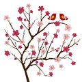 Cherry Tree With Whimsical Birds Stock Photo - 58076130