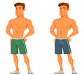 Young Cartoon Guy Flaunting His Muscles Royalty Free Stock Photography - 58089447