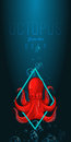 Octopus In Deep. Vector Color Illustration On Gradient Background With Decorative Element. Stock Photos - 58091153