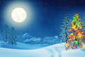 Christmas Tree In Moonlit Winter Landscape At Night Royalty Free Stock Images - 58099799