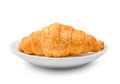Delicious Fresh Croissant On A White Plate Isolated On White Bac Royalty Free Stock Image - 58104976