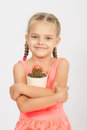 Happy Little Girl Hug Pot Of Cactus Royalty Free Stock Photography - 58105237