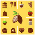 Chocolate Sweets, Cakes And Cocoa Bean Flat Icons Royalty Free Stock Photo - 58112655