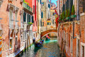 Gondolas On Lateral Narrow Canal In Venice, Italy Royalty Free Stock Photo - 58115225