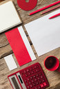 The Mockup On Wooden Background With Red Stock Photography - 58116402