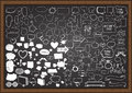 Hand Drawn Speech Balloons With Wedding Party Elements On Chalkboard. Stock Image - 58129321