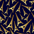 Gold Eiffel Tower France Country Seamless Pattern Royalty Free Stock Photo - 58152565
