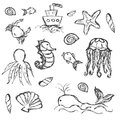 Fish And Sea Life Hand Drawn Doodle Icons Set Stock Photography - 58153292
