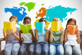 Composite Image Of Children Reading Books At Park Stock Photo - 58155930
