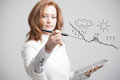 Woman Drawing Schematic Representation Of The Royalty Free Stock Photography - 58157187