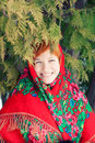 Russian Woman In A Folk Shawl Royalty Free Stock Photography - 58161417