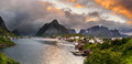 Panorama Of  Mountains And  Reine In Lofoten Islands, Norway Royalty Free Stock Photography - 58171317