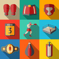 Flat Icons Set, Boxing - Gloves, Shorts, Helmet Stock Photos - 58176943