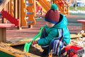 Little Boy Digging In Playground Outdoors Stock Images - 58203684