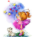 Funny Children Fairy Background. Watercolor Drawing Stock Photo - 58205370