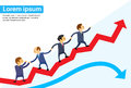 Business People Running Red Arrow Graph Stock Photos - 58211153