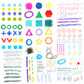 Hand-drawing Doodle Funny Shapes Childish Set. Royalty Free Stock Photos - 58212538