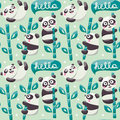 Seamless Pattern With Cute Pandas, Bamboo, Leafs And Hello Stock Photos - 58219193
