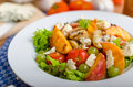 Grilled Fruit With Blue Cheese And Salad Royalty Free Stock Photo - 58229785