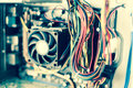 Old Dusty Pc Motherboard Cables Vintage Color Effect Stock Photography - 58232492