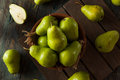 Green Organic Bartlett Pears Royalty Free Stock Photo - 58233915