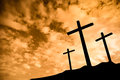 Three Crosses On A Hill Royalty Free Stock Images - 58249189