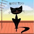 Cute Black Cat On The Roof Royalty Free Stock Images - 58263229