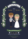 Rustic Romantic Cartoon Couple Wedding Card Royalty Free Stock Images - 58280849