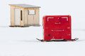 Red And Wooden Ice Fishing Huts Royalty Free Stock Photo - 58282855