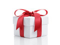 White Present Paper Box With Red Ribbon Bow Royalty Free Stock Images - 58283929