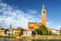 View Of The Santa Anastasia Church From The Adige River. Verona Stock Photos - 58293763