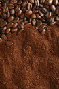Coffee Beans And Ground Background, Warm Light Royalty Free Stock Images - 5830519