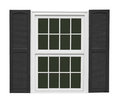 White Window With Black Shutters Isolated Royalty Free Stock Images - 58302689
