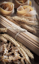 Whole Wheat Italian Pasta With Spikes Stock Photography - 58328132