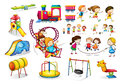 Children Playing And Playground Set Royalty Free Stock Photos - 58330258