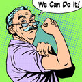 Grandpa Old Man Gesture Strength We Can Do It Stock Photo - 58330790