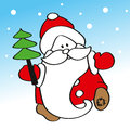 Funny Father Frost Carrying A Christmas Tree Stock Image - 58331741