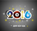 Happy New Year 2016 Greeting Card Stylized Triangle Polygonal Model Stock Images - 58332764