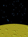 Moon Landscape In Space. Yellow Surface Of  Planet. Black Cosmos Royalty Free Stock Images - 58350909